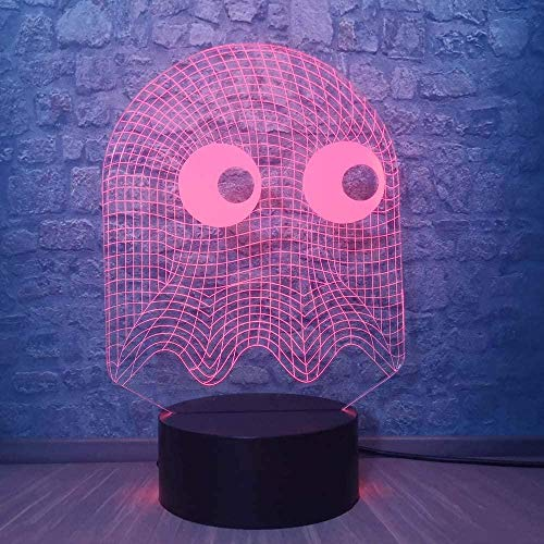 Juego PAC-Man 3D ilusión noche luz adolescente niña regalos USB carga para decoración del hogar juguetes frescos regalos cumpleaños Navidad