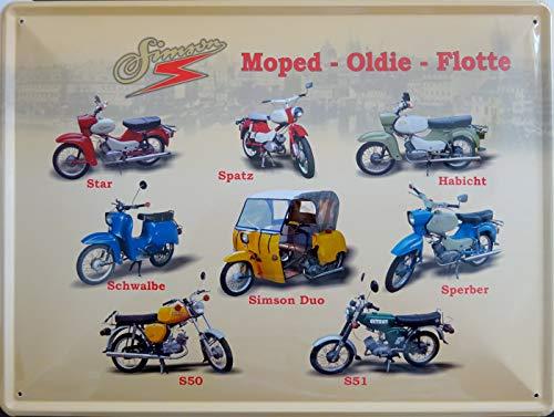 vielesguenstig-2013 Schild Blechschild 30x40cm Moped Oldie Flotte Simson Star Spatz Habicht Schwalbe Duo Sperber S51 S51 DDR