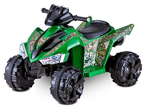Kid Trax Mossy Oak Toddler ATV Electric Ride-On Toy, Kids 3-5 Years Old, 6 Volt Battery and Charger, Max Rider Weight 60 lbs, LED Headlights, Green