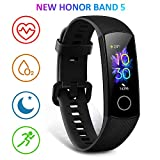 HONOR Band 5 Montre Connectée Podometre Cardio Montre Intelligente Bracelet Connecté 5ATM Résistance à l'eau Smart Watch Android iOS Smartband, Noir