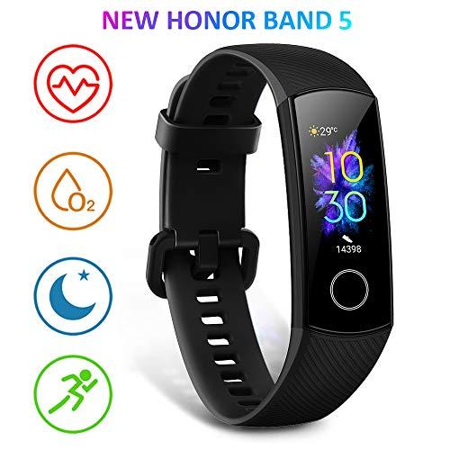 HONOR Band 5 Fitness Armband mit Pulsmesser, Wasserdicht IP68 Pulsuhren Fitness Tracker Aktivitätstracker Schrittzähler Uhr Herren- und Damensmartwatch Anruf Nachrichten beachten Schwarz