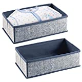 mDesign 2er-Set Aufbewahrungsbox für das Kinderzimmer oder Bad – Faltbare Kinderzimmer Aufbewahrungsbox für Babykleidung – Kinderschrank Organizer aus atmungsaktiver Kunstfaser – blau