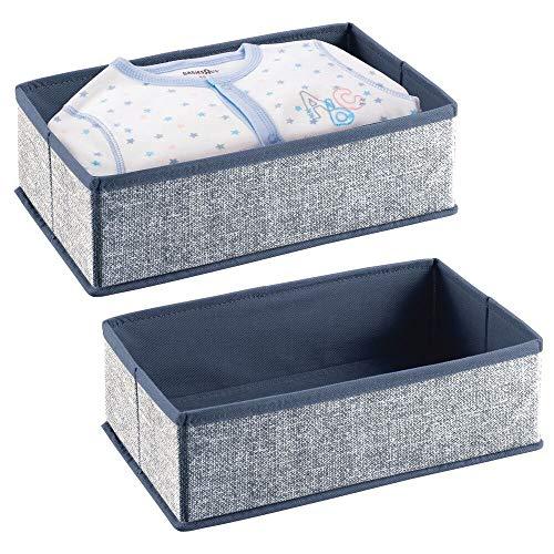 mDesign - Lade-organizer - voor kinder-/babykamers - voor ladekasten en kledingkasten - ruim/open/rechthoekig/zacht/stof - marineblauw - per 2 stuks verpakt