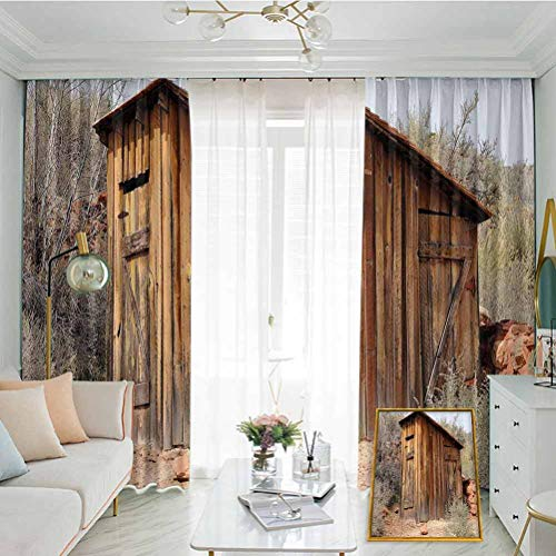 Annery Outhouse Studio partition Living Room Curtain Old Wooden Shed in The Outback Country Side with Olive Trees for Living Room or Bedroom W72 x L108 Inch Caramel Brown and Dark Green