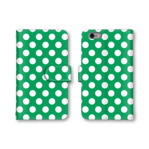 【ノーブランド品】 URBANO V03 KYV38 スマホケース 手帳型 ドット柄 コインドット 水玉模様 グリーン 緑色 かわいい おしゃれ 携帯カバー KYV38 ケース 携帯ケース アルバーノ