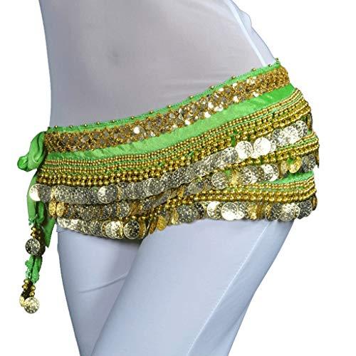DANCER - Falda para danza del vientre para mujer, diseño de monedas de oro, color verde, tamaño talla única