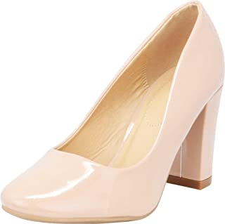Cambridge Select Women's Classic Round Toe Chunky Block Heel Pump