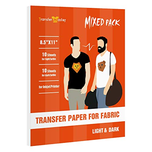Transfer Master Inkjet Printable T-shirt Iron-On Heat Transfer Paper for Light and Dark Fabrics, 8.5x11 Inch Combo Pack 10 Sheets Light(Red Grid)/10 Sheets Dark(Blue Grid)