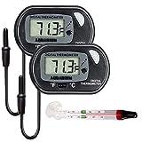 Electrely 2Piezas Termómetro Digital LCD con Ventosa para el Terrario Acuario Vivarium -50 ~ + 70 ℃ y 1Piezas Acuario Sumergible Flotante Termómetro