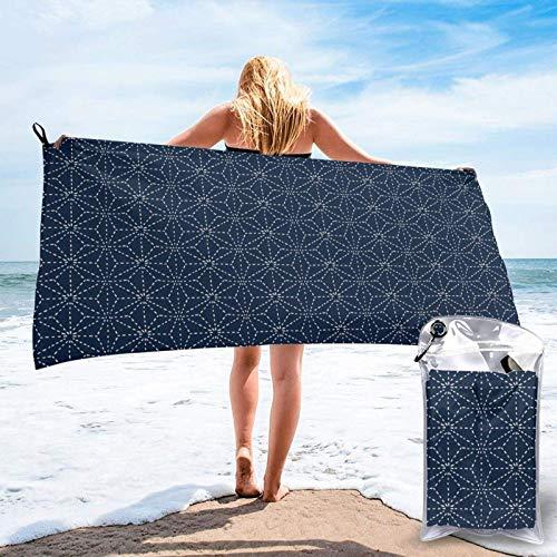 FLDONG Toalla de secado rápido con líneas punteadas, formas geométricas sobre telón de fondo azul, toalla de microfibra de impresión, ultra suave, compacta, ligera, 31.5 x 63 pulgadas