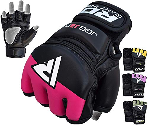 RDX MMA Handschuhe Kinder Kamfsport Boxsack Sparring Training Grappling Gloves Junior Freefight Sandsack Maya Hide Leder Punchinghandschuh (MEHRWEG)