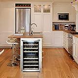 KRC-45BSS Kompressor Weinkühlschrank, 120 Liter, 45 Flaschen (bis zu 310 mm Höhe), 2 Zonen 5-10°C/10-18°C, 7 Holz-Einschübe, LED-Display, Edelstahl Glastür - 6