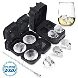 VOLOOP 3D Skull Ice Mold Diamond Ice Cube Maker Ice Cube Trays with High Grade Silicone for Whiskey Cocktails Ice Cream Cake Set of 2