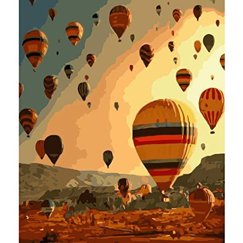 Zhxx Schilderij door Numbers Kits voor Volwassenen Luchtballon Drijvend in De Hemel Landschap Paraplu Tekening Home Decoratie, 16X20 Inch Frameloos