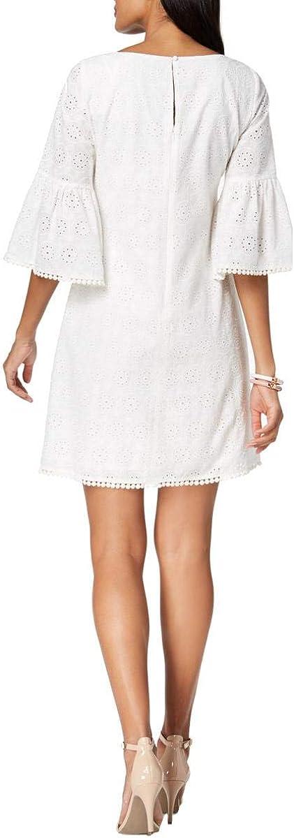 Jessica Howard Women's Cotton Bell-Sleeve Eyelet Dress