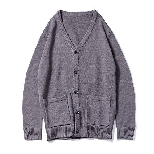 qishi Cárdigan de punto clásico cárdigan con cuello en V y botones de color sólido, suéter superior