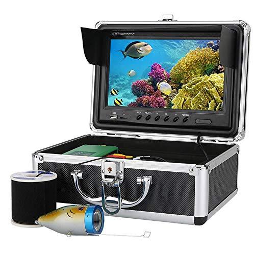 Fish Finders DVR de 9 pulgadas, 15 luces LED blancas + 15 luces LED infrarrojas para cámara subacuática con cable, para pesca en hielo, pesca en mar, 30 m