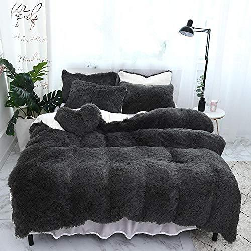 NIANMEI Puur Kleur Mink Fluwelen Beddengoed Sets 8 Kleuren Lammeren Wollen Fleece Dekbedovertrek Set Bed Rok Gemonteerd Twin Queen King Size