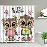 XCBN Kinder Lieblings Badezimmer Dekorative Duschvorhänge Wasserdichter Stoff Badvorhang Animal Owl Printing Duschvorhang A22 180x180cm