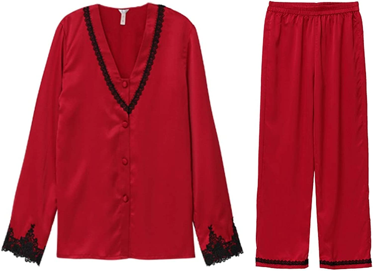 Home Service Sexy Red LongSleeved Home Service Lace Embroidered Pajamas Set (color   Pink, Size   L)