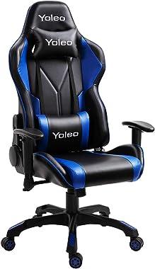 YOLEO Chaise Gaming de Bureau Fauteuil Gamers Siège Ergonomique Accoudoir Réglable Cadre en Acier Angle d'inclinaison Rég