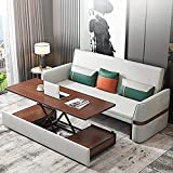 Peakfeng Sofá Cama Convertible Multifuncional Plegable Plegado futón de sofá con Mesa de Centro de café Escritorio de computadora cómodo reposabrazos diseño Natural látex llenado Fuerte Carga Carga