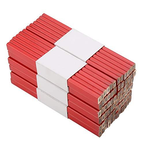 Aeloa timmermannspotloden achthoekig timmermanspotlood houtbewerking markeringsgereedschap achthoekig rood hard zwart lood timmerman potlood - 72 stuks 175 mm
