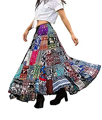 Patchwork Skirt Long Boho Colorful Unique Gypsy Tiered Maxi Full Flared Rayon