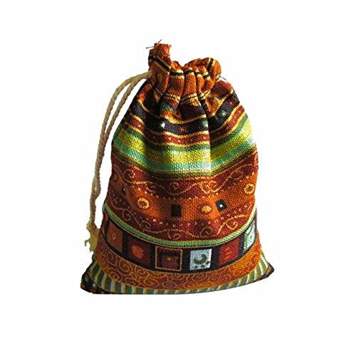 PXN 9.5 * 12cm 50 pièces de Sac à Bijoux en Coton Pur Sac Cadeau Ethnique Sac à Cordon Sac de Bijoux de Noël Sac de Mariage/Bonbons, café d'or