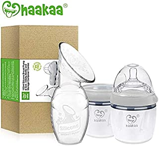 Haakaa Manual Breast Pump with Milk Bottle Storage Milk Bottle for Breastfeeding 100% Food Grade Silicone BPA PVC and Phthalate Free (4oz/100ml Pump + 160ml Milk Bottle +160ml Storage Milk Bottle)