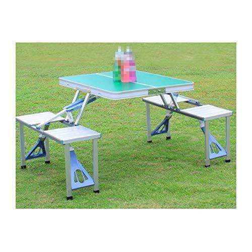PPLAE Conjunto de sillas de Mesa de Mesa de Picnic integradas integradas portátiles para Exteriores (Color : Grass Green)