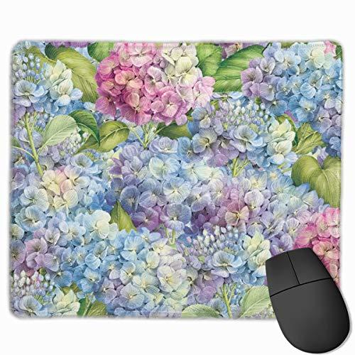 Mouse Pad with Stitched Edge, Floral Blue Lavender Hydrangea Mouse Mat, Non-Slip Rubber Base Mousepad for Laptop, Computer & Pc