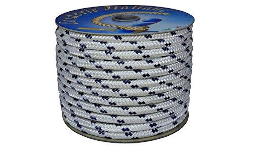 Corderie Italiane 006000488 Treccia Nautica, Bianco con Segnalino Blu