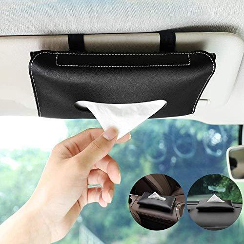 2 Pack Car Tissue Holder, Sun Visor Napkin Holder, PU Leather Tissues Box, Car Sun Visor Napkin Storage Cases for Universal Auto