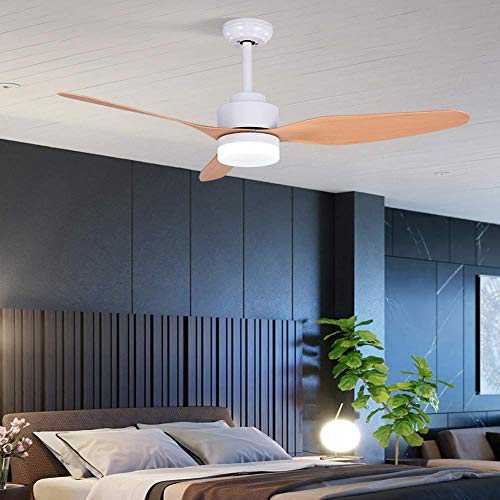 3 Wood Leaf Remote Control Ceiling Fan Light Led Mute Energy Saving High Exhaust Fan Chandelier Lighting Indoor Lighting 47 Inches (white)