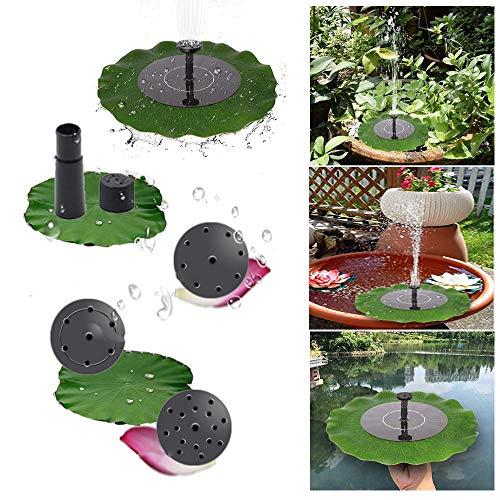 ZHANGZHIYUA fontein voor vogelbad vijver, 1,4 W fonteinpomp met sproeipatroon koppen - simulatie lotusblad drijvende zonne-fontein voor tuindecoratie