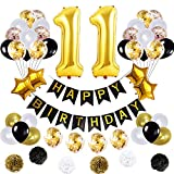 11 Birthday Decorations Ballons Happy Birthday Banner pom pom Flowers Gold Mylar Balloon Latex Balloons Number 11 Foil Ballons Gold