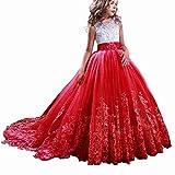TTYAOVO Vestido de Novia Princesa de Encaje hasta el Suelo para Niñas Vestidos de Tul (12-13 Años, Rojo)