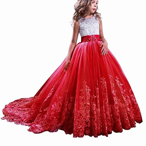 TTYAOVO Vestido de Novia Princesa de Encaje hasta el Suelo para Niñas Vestidos de Tul Talla160 (12-13 Years) 406 Rojo