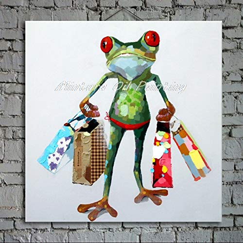WSKYOUHUA Handgemalte Leinwand Bilder,Hand Ölgemälde Auf Leinwand Moderne Abstrakte Cartoon Tiere Frosch Tragetasche Home Office Dekor Wand Kunst Keine Bilder Gerahmt,110 × 110 cm Rahmenlos