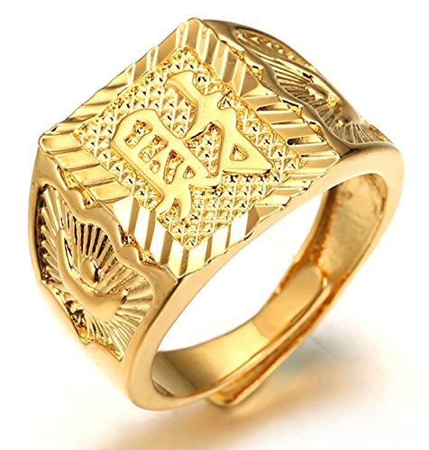 Halukakah  Oro Bendiga Todo  Hombres Anillo Chapado en 18K Oro Real Riqueza Tamaño Ajustable con CajaDeRegaloGRATIS