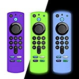 [3 Pack] Woocon Covers for All-New Alexa Voice Remote for Fire TV Stick 4K, Fire TV Stick (2nd Gen), Fire TV (3rd Gen) Shockproof Protective Silicone Case(Purple+Glow Bule+Glow Green)
