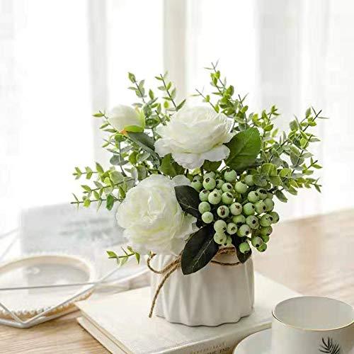 Künstliche Blumen im Topf, Deruxan Kunstblumen Künstliche Rosen Seidenblumen Blumenstrauß Kunstpflanze Deko Blumen Fake Blumen (Weiß)