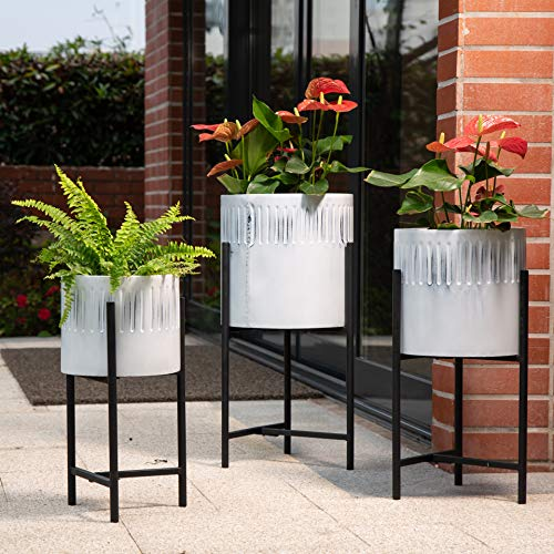 Glitzhome Mid Century Plant Stand with Pot Set of 3 Modern Metal Planters with Stands Flower Pot Holders Perfect for Indoor Outdoor Plants Plant Stand NOT Adjustable, White