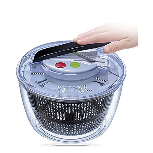 Centrifugadora de ensaladas, centrifugadora manual grande de lechuga y lavadora secadora de frutas y verduras con cierre de tapa seguro y mango giratorio, para ensaladas más sabrosas
