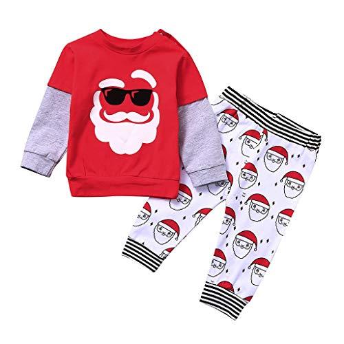 BUKINIE Toddler Baby Pyjamas De Noël Tenues Santa Tops Manches Longues + Imprimé Pantalon Long Xmas Holiday Vêtements Ensembles(Rouge,18-24 Mois)