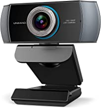 Full HD 1080P Webcam, Unzano Streaming Camera, Webcam with Microphone, Wide Angle USB Computer Camera with Facial-Enhancem...