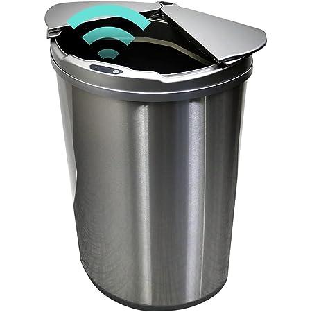 ゴミ箱 45L 自動開閉ゴミ箱 自動センサー 大容量 コンパクト おしゃれ ひらけゴミ箱 直接触れない 衛生的 捨てやすい ゴミ袋リングつき お手入れ楽々 スリム 安心メーカー保証1年付き シルバー MAXZEN JG047MT01-SV