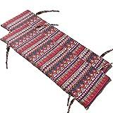XCTLZG 2 taburetes largos rectangulares de 2 o 3 plazas, cómoda almohadilla para silla con lazos no deslizantes, cojín de banco desmontable con cremallera para silla de columpio de patio