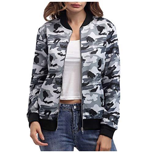 Bumplebee Floral Print Oberteile Damen Elegant Reißverschluss Bomberjacke Damen Grau Kurz Jacke mit Taschen Mode Elegant Outwear Sweatshirt...